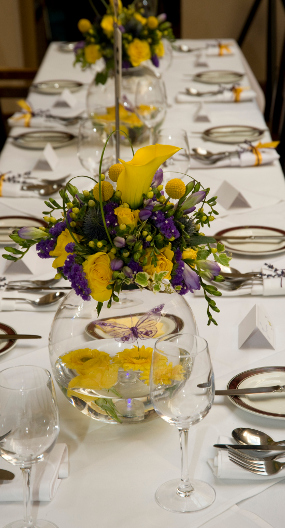 Purple and Yellow party arrangement